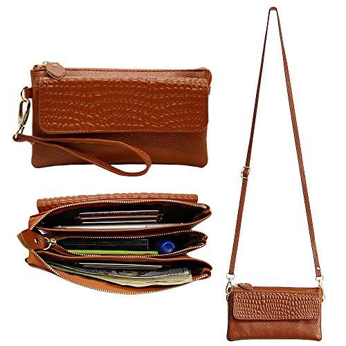 Befen Leather Wristlet Cross Body Clutch Smartphone Wallet for Women with Card slots & Shoulder/Wrist Strap - Brown