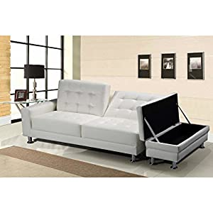 Uk Stock Cravog White Cheap Faux Leather 3 Seater Sofa Bed Storage Ottoman Diy