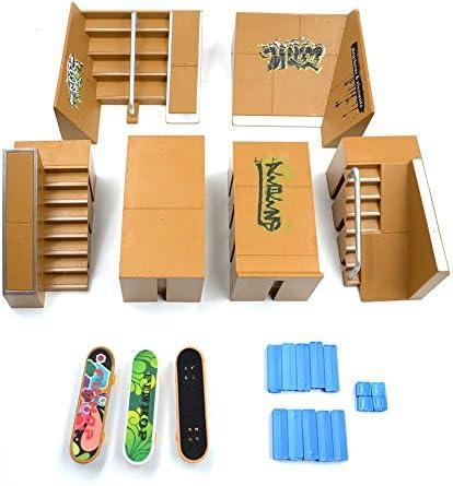 Wayin Skatepark Kit Rampa Parti per Tech Deck Tastiera Mini Pattino della barretta Fingerboards di Ultimate Parchi (8pcs Mini Skateboard)