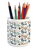 Ambesonne Llama Pencil Pen Holder, Children Cartoon Style Hand Drawn South American Animals Alpacas and Llamas Design, Printed Ceramic Pencil Pen Holder for Desk Office Accessory, Multicolor