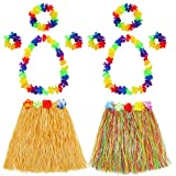Shappy Hula Grass Skirt with Flower Leis Costume Set, Elastic Luau Grass and Hawaiian Flower Bracelets, Headband, Necklace for Party Favors, 2 Sets