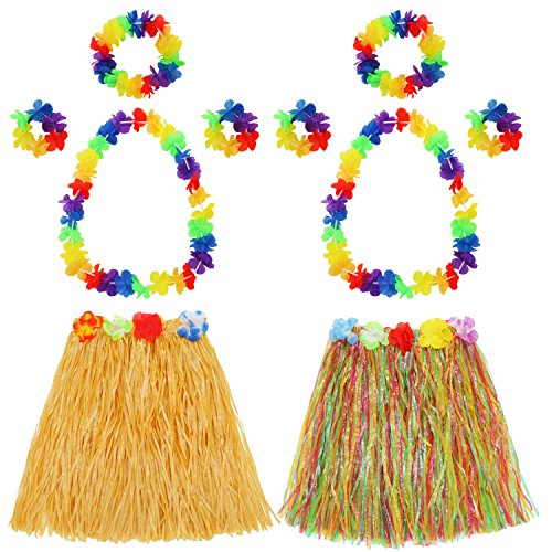 (Hula Grass Skirt with Flower Leis Costume Set, Elastic Luau Grass and Hawaiian Flower Bracelets, Headband, Necklace for Party Favors, 2 Sets (Straw Color, Mixed)
