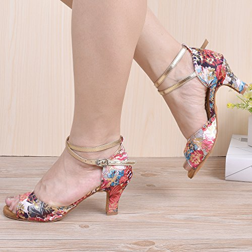 Les De Pour Rouge Hxyoo D'intérieur Salon Femmes Latine Slasa T01 Chaussures Danse x5qw4wSYX