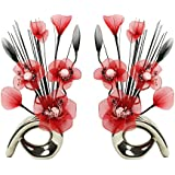 Flourish 794378 QH1 Matching Pair of Silver Vases with Red Nylon Artificial Flowers in Vases Fake Flowers Ornaments Small Gift Home Accessories 32cm by Flourish