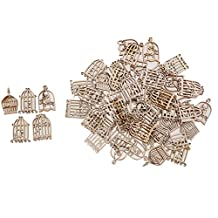 MonkeyJack 50 Pieces Mixed Birdcage Chic Wooden Embellishment Scrapbook Carft DIY Wind Chimes Xmas Hanging Decorations