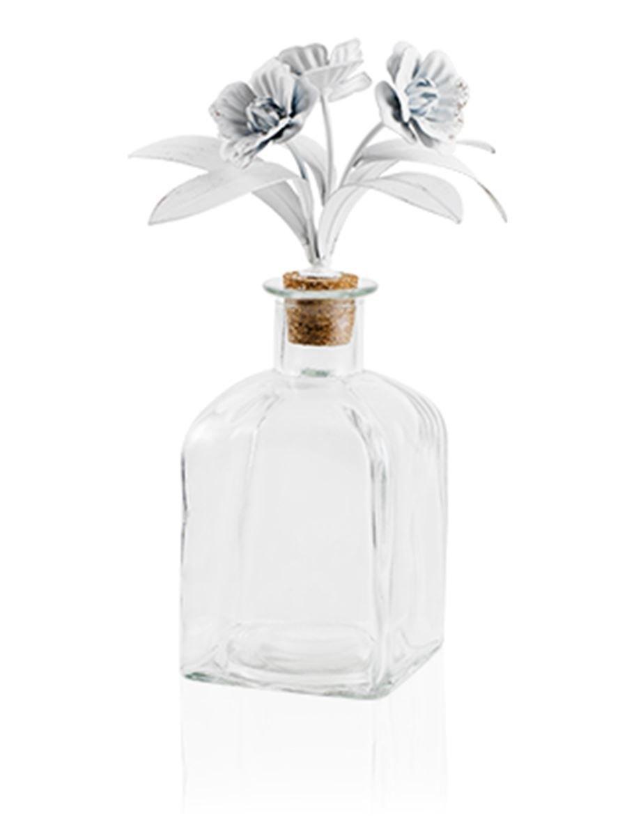 Botella cuadrada decorada con flores y hojas de metal 9 x 9 x 26: MainApps: Amazon.es: Hogar