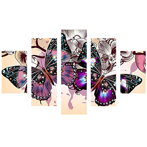Combination Panel - 5D DIY Diamond Painting, Nufelans Multi-Picture Combination Full Drill Embroidery Mosaic for Home Decoration Rose and Butterfly 95x45CM (B)