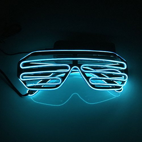 (D&D Shutter EL Wire Neon Glasses LED Sunglasses Light up Battery Costumes for Party)