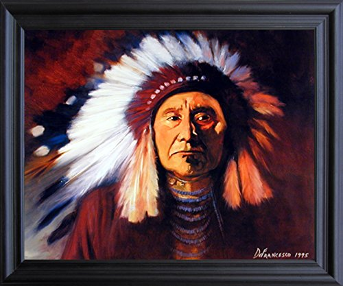 Impact Posters Gallery Framed Wall Decoration Indian Chief Joseph Defrancesco Native American Black Framed Picture Art Print (19x23)