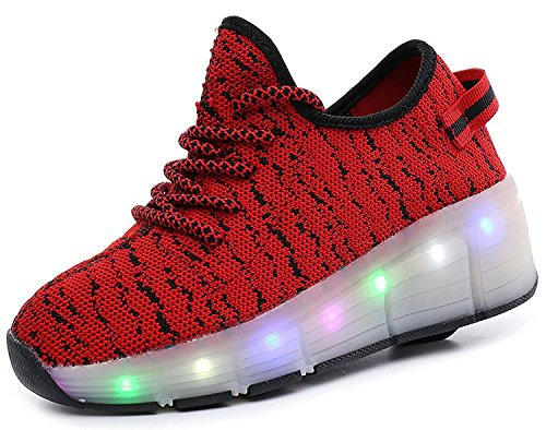 2017 New Single Wheel LED Walking Shoes Breathable Light Fashion Children Shoes Convenient And Comfortable(Red 1wheel 12 M US Little Kid) (Uk Christmas Singles 2017)