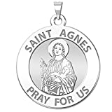 Saint Agnes of Rome Round Religious Medal - 2/3 Inch Size of Dime, Sterling Silver