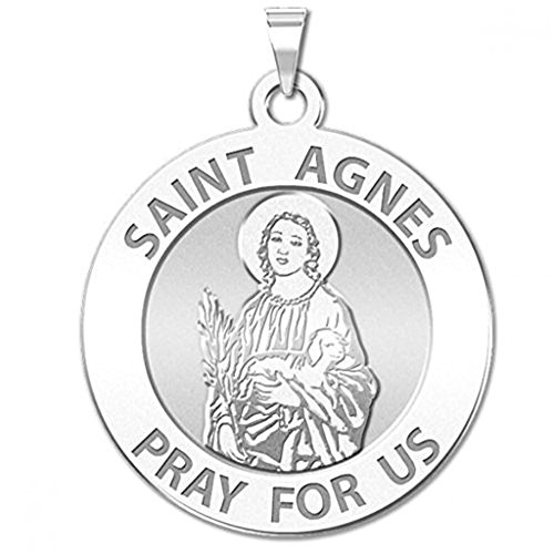 PicturesOnGold.com Saint Agnes of Rome Round Religious Medal - 2/3 Inch Size of Dime, Sterling Silver WITH ENGRAVING