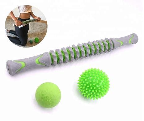 Bafeat Pro | Rodillo de masaje muscular palo con 2 pelotas ...