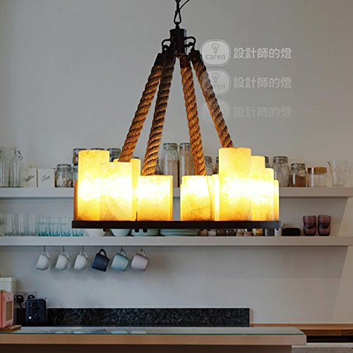 (Leihongthebox rural wind marble marble stone ring sisal twine and Pendant Ceiling Lighting ,6364cm 14)