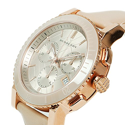 Burberry The City SWISS LUXURY CERAMIC Women 38mm Round Rose Gold Chronograph Watch Nude Leather Band Nude Sunray Date Dial BU9704 by BURBERRY (Image #3)