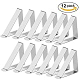 Tablecloth Clips - Aieve 12Pack Stainless Steel Table Cloth Clip Table Clamp Table Cloth Holder for Home Party Restaurant Picnic Thick Table Clips (Silver)