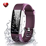 Fitness Tracker- Waterproof Activity Tracker Heart Rate Monitors Sleep Tracking Wireless Bluetooth Activity Tracker Smart Bracelet Pedometer Fitness Sports Wristbands (purple)