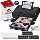 Canon SELPHY CP1300 Wireless Color Compact Photo Printer (Black) Bundle with Canon KP-108IN Color Ink and Paper Set & K&M Cleaning Cloth