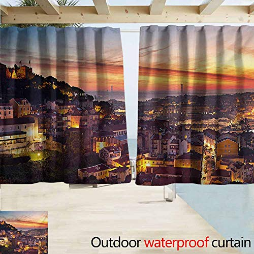 AndyTours Rod Pocket Curtains,Cityscape Cityscape of Lisbon Portugal Traditional Seaside City Colorful Sky Sunset Evening View,Darkening Thermal Insulated Blackout,W55x45L Inches,Brown