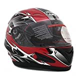 Motorcycle Full Face Helmet DOT Street Legal +2 Visors Comes with Clear Shield and Free Smoked Shield (M, SPIKES Red)