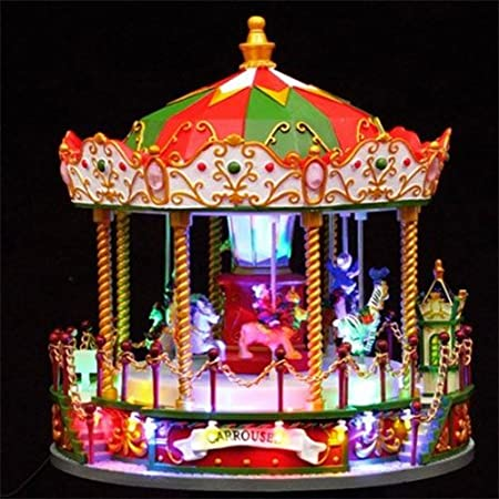 carousel merry go round musical animated light up christmas decoration