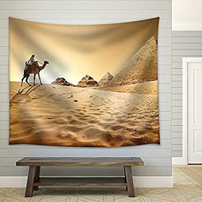 Bedouin on Camel Near Pyramids in Desert Fabric Wall, Made to Last, Fascinating Object of Art