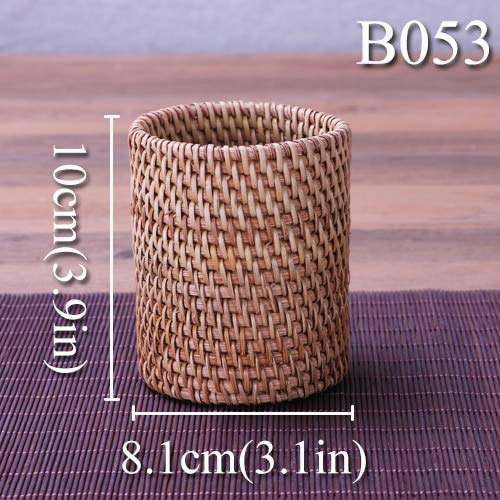   Home Office Storage   Handmade Rattan Tea Canister Desktop Stationery Cosmetic Sundries Storage Box Bamboo Bottle Tea Ceremony Tools Pen Holder Gift   by AZUDAN -