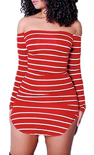 Shoulder Cromoncent Off Stripe Mini Sexy Sleeve Women Clubwear Long Red Party Dress wqw7a