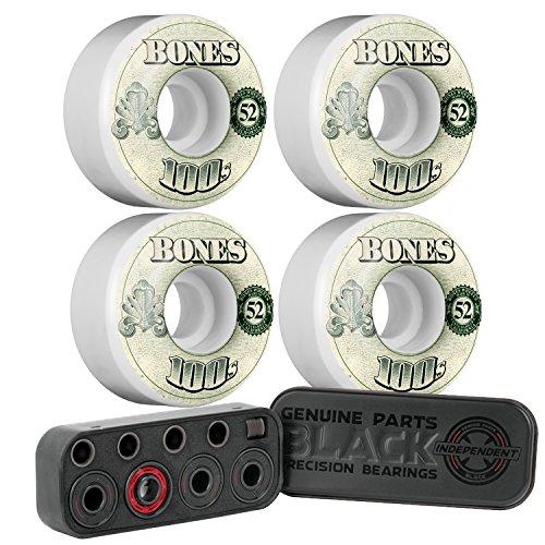 ショルダーきらめくラフレシアアルノルディCal 7スケートボードバンドル – Bones Wheelsの100プラス独立ブラックPrecision 8 mmスケートボードベアリング、リングandスペーサー