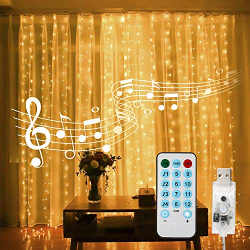 Curtain String Lights, 400 LED 13.1ftX9.8ft USB Powered String Lights, 4 Music Control Modes 8 Lighting Modes Waterproof…