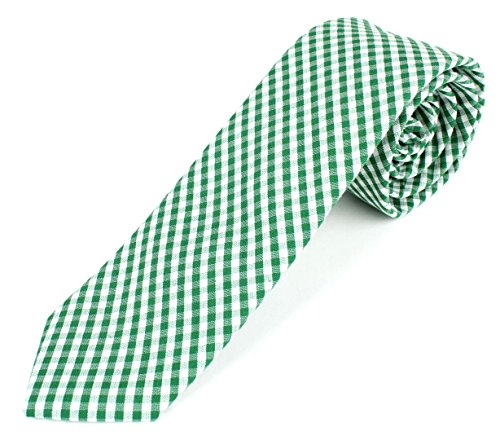 Men's Cotton Skinny Necktie Tie Gingham Checkered Pattern - Green