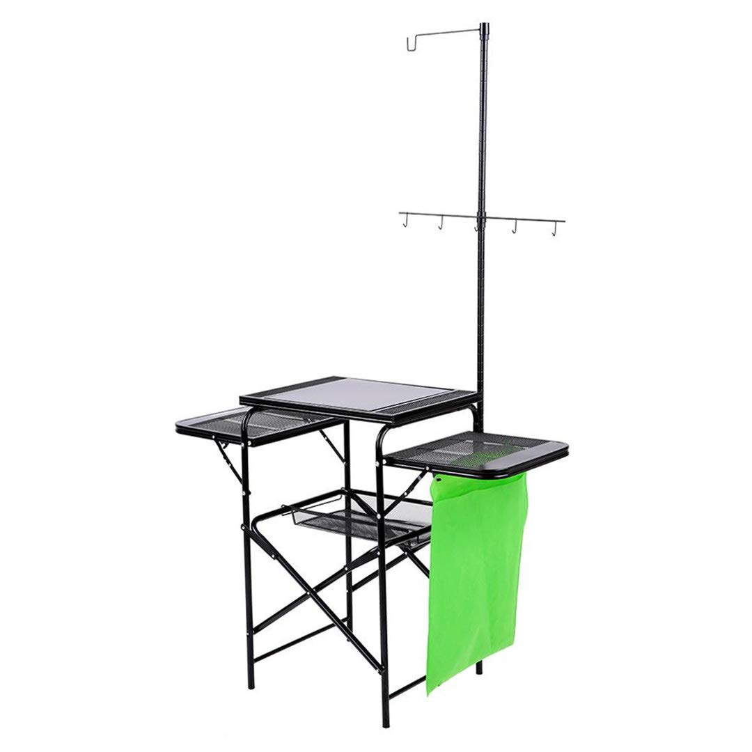 H-Henrne Portable Folding Grill Table Outdoor Pack-Away Kitchen Vegetable Fruit Storage Basket Rack Stand Organizer for Camping