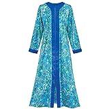 Collections Etc Women's Zip Front Floral Long Robe Womens Royal Blue X-large, Royal Blue, X-Large