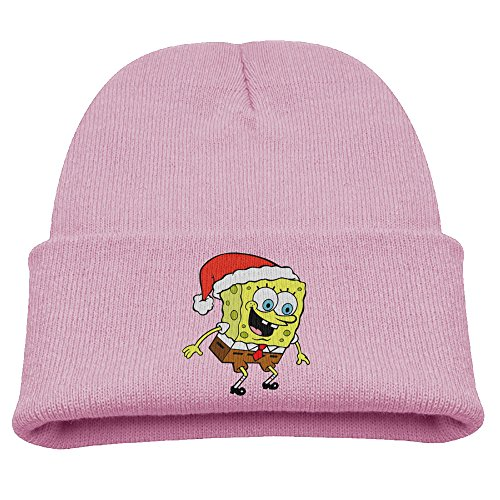 Christmas Spongebob Children Warm Pink Skull Hat Beanies Cap
