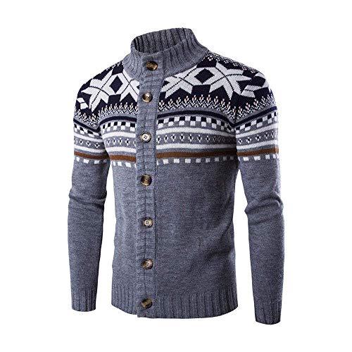 Pull De Style Automne Col Cardigan Tricoté Hommes Montant Et Manteau Ethnique Gris Chandail D'hiver Bobolily YSqXOq