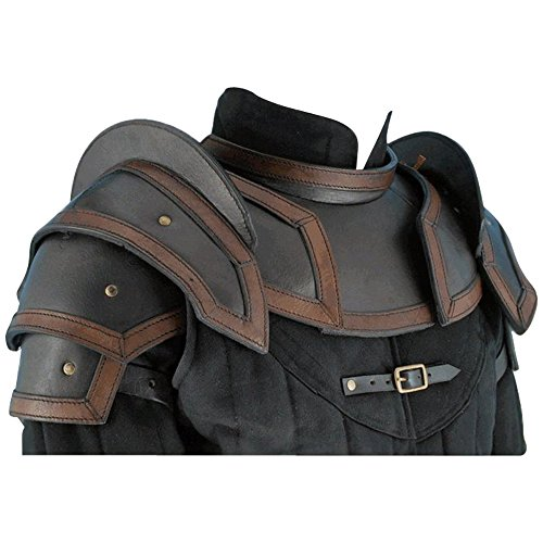 Armor Venue Leather Shoulder Armor Pauldrons with Neck Guard Gorget
