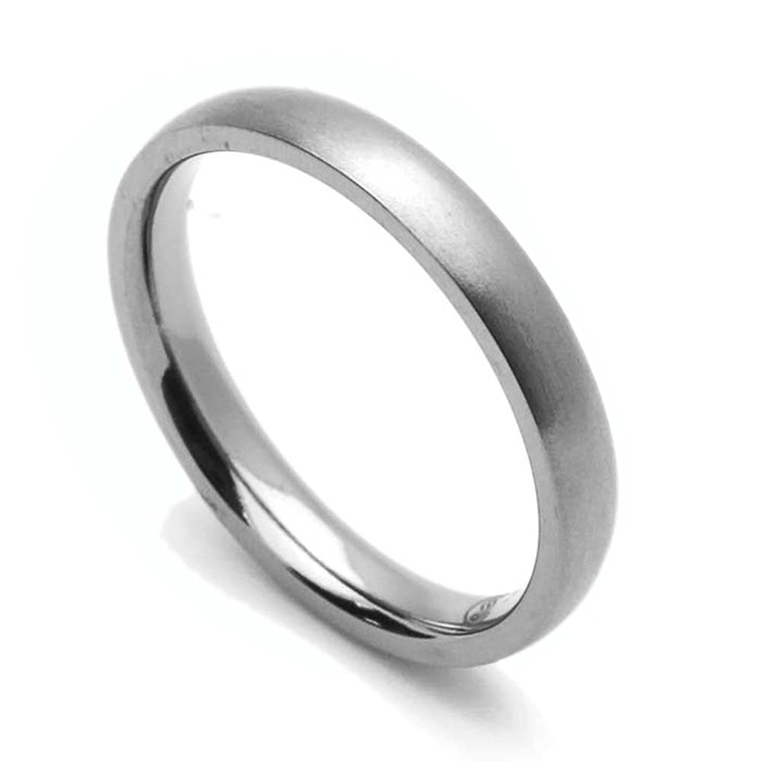 3MM Comfort Fit Titanium Wedding Band Classic Domed Ring (Size 5 to 12)