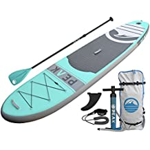 """PEAK Inflatable 10'6 Stand Up Paddle Board Complete Package (6"""" Thick)   Includes Adjustable Paddle, Travel Backpack, Coil Leash"""