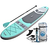 PEAK Inflatable Stand Up Paddle Board with Adjustable Paddle, Travel Backpack and Coil Leash, 128 x 31 x 6-Inches, Aqua