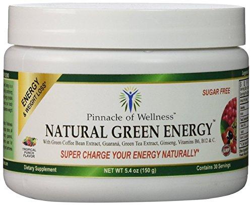 Pináculo de bienestar Natural energía verde polvo - Tropical Punch sabor - 30 porciones - 5,4 oz (150g) - con 800mg de extracto de café verde puro - té verde hoja - raíz de Ginseng Asiático y semilla de Guaraná