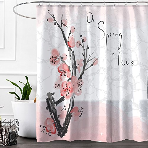 Colorful Star Ink Painting of Peach Blossom Design Shower Curtain Made of 100% Polyester Fabric Machine Washable Waterproof Durable with Hooks 72