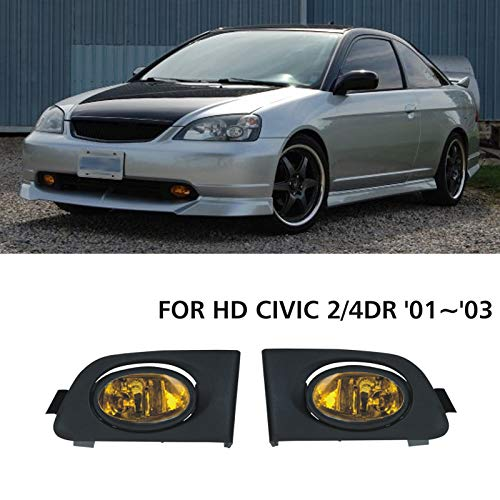 VIOJI New 1 Pair For Honda 2001-2003 Civic 2DR Coupe/4DR Sedan Yellow Lens Front Bumper Driving Lamp Fog Lights w/ H11 Bulbs+Switch+Relay+Wire+Hardware