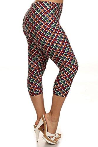 23aeaf543a4 Elegant4U Junior Plus Colorful Basket Weave Printed Capri Leggings at Amazon  Women s Clothing store