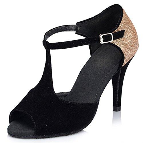 Baile Zapatos Samba América Verano Sandalias de Baile Baile Negro Modern de de de Jazz de Zapatos Zapatos Onecolor Correa Adultos de Zapatos Latino Cuero BYLE Tobillo zHYqvq