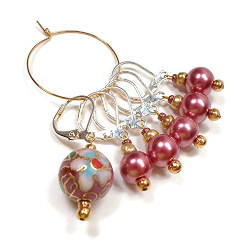 Removable Locking Stitch Markers for Crochet and Knitting Mauve Pearl Cloisonne - Mother Of Pearl Circular Earring