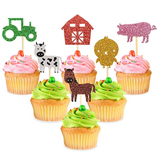 Farm Zoo Animal Cupcake Toppers Picks, 24Pcs Glitter Appetizer Dessert Muffin Cake Cupcake Decoration, Kids Animal Themed Party Baby Shower Birthday Party Supplies]()