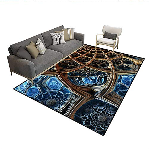 Floor Mat,Fantastic Dimensional Stripes Pattern with Retro Baroque Influences Robotic Design,Rugs for Bedroom,Golden BlueSize:6'x9' ()