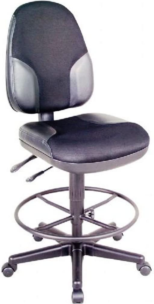 Monarch Armless Leather Drafting Stool Black Fabric Black Leather Inset