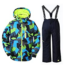 Boys Thicken Warm Hooded Waterproof and Windproof Snowboard Jacket