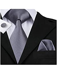 Hi-Tie New Fashion Classic Grey Woven Silk Necktie Tie Hanky Cufflinks set